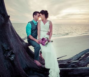 Wedding Flowers Beach Sunset Photo